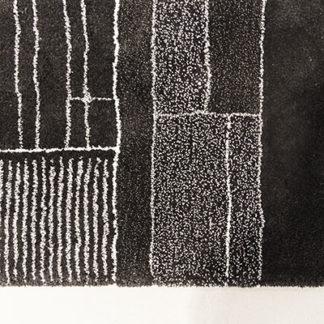 AirfieldAirfield tapijt zwart & wit, combinatie van wol en linnen