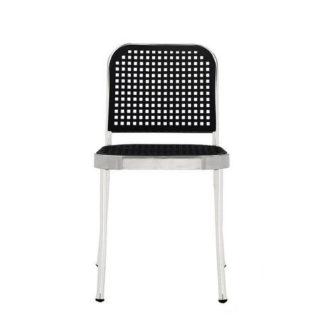 SilverSilver stoel, zonder armen, structuur satin, zit en rug zwart
