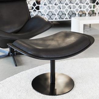 AlmoraAlmora voetenbank, antraciet schaal, zwart leder Leder KS153 kasia antraciet, zit chene brossé noir, structuur verni zwart