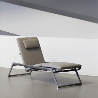Mirto mirto - chaise longue outdoor - matras & kussen in stof elide - structuur aluminium gelakt kleur tortora