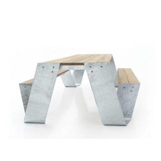 Hopper Picnic 300hopper picnic 300 - iroko tropisch hardhout - gegalvaniseerd staal