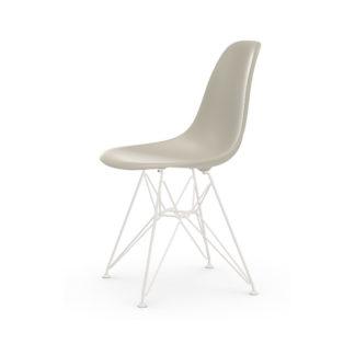 Eames Plastic Side Chair DSR DSR stoel - zitschaal kiezelsteen - onderstel gepoedercoat wit