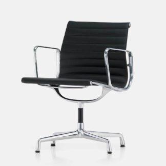 Aluminium Chair EA 108 Aluminium Chair EA 108, chroom, leder, nero, draaibaar