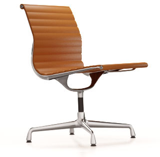 Aluminium Chair EA 105Aluminium Chair EA 105, chroom, cognac, niet draaibaar
