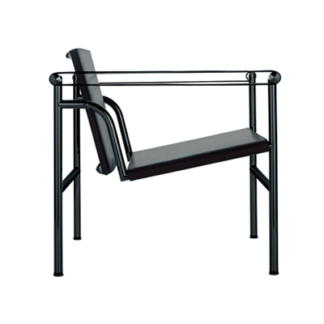 LC1LC1 - armchair - black enamel frame - seat and back in black leahter with matching arm straps