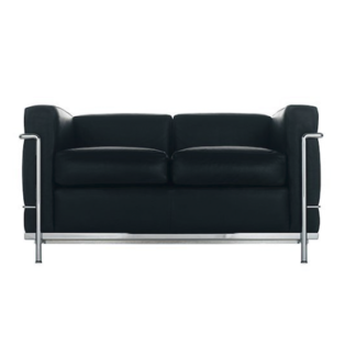 LC2LC2 - 2-seater - polyester padded cushions - chrome frame - black lcx leather