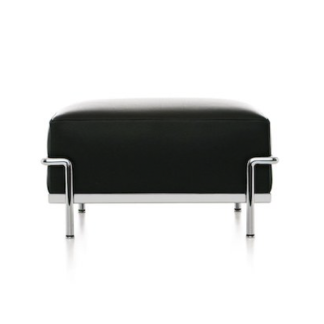 LC2LC2 - rectangular ottoman - polyester padded cushion - chrome frame - black lcx leather