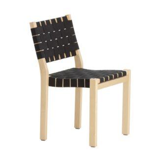 Chair 611 Chair 611 frame in naturel gelakt berken zit en rug in gevlochten band 100% linnen, zwart op Artek viltglijders