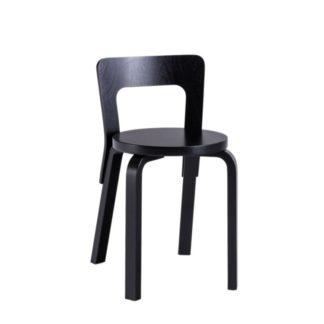 Chair 65 Chair 65 ongemonteerd poten, zitting en rugleuning zwart gelakt berken zithoogte 45,5cm