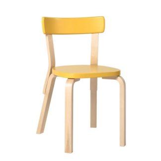 Chair 69 Chair 69 ongemonteerd onderstel gelakt naturel berken Zitting en rugleuning gelakt yellow zithoogte 45,5cm