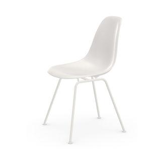 Eames Plastic Side Chair DSXDSX stoel - zitschaal wit - onderstel gepoedercoat wit