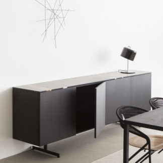 Modernmodern - top sahara marmer - structuur hemlock zwart gebeitst - left-voet zwart