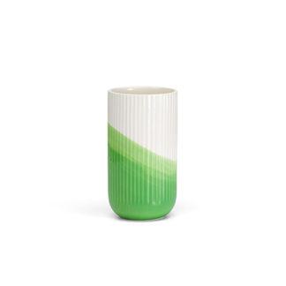 Herringbone VaseHerringbone Vase, geribbeld, groen