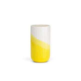 Herringbone VaseHerringbone Vase, geribbeld, geel